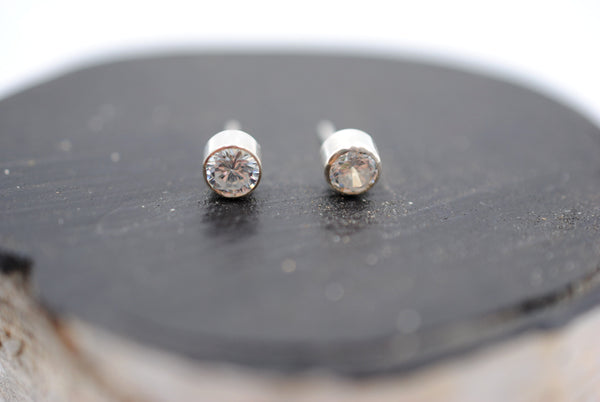 Post Earrings with Cubic Zirconia in Bezel Setting