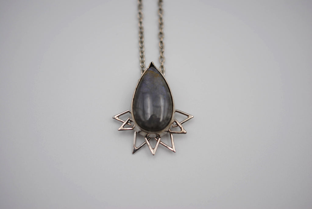 Purple Labradorite Petal Pendant Necklace