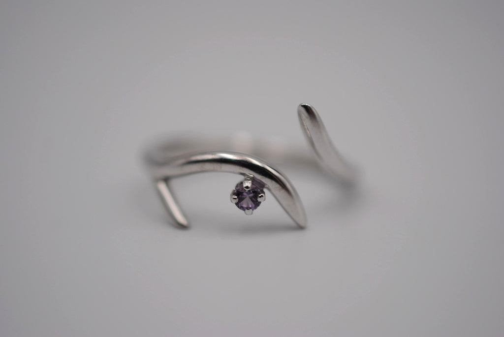 Sprout Rhodium Roots Ring with Alexandrite Gemstone