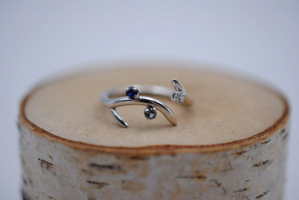 Sprout Rhodium Roots Ring with Blue Sapphire, Aquamarine, and Cubic Zirconia Gemstones