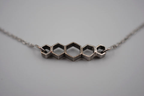 Symetrical Honeycomb Bar Necklace