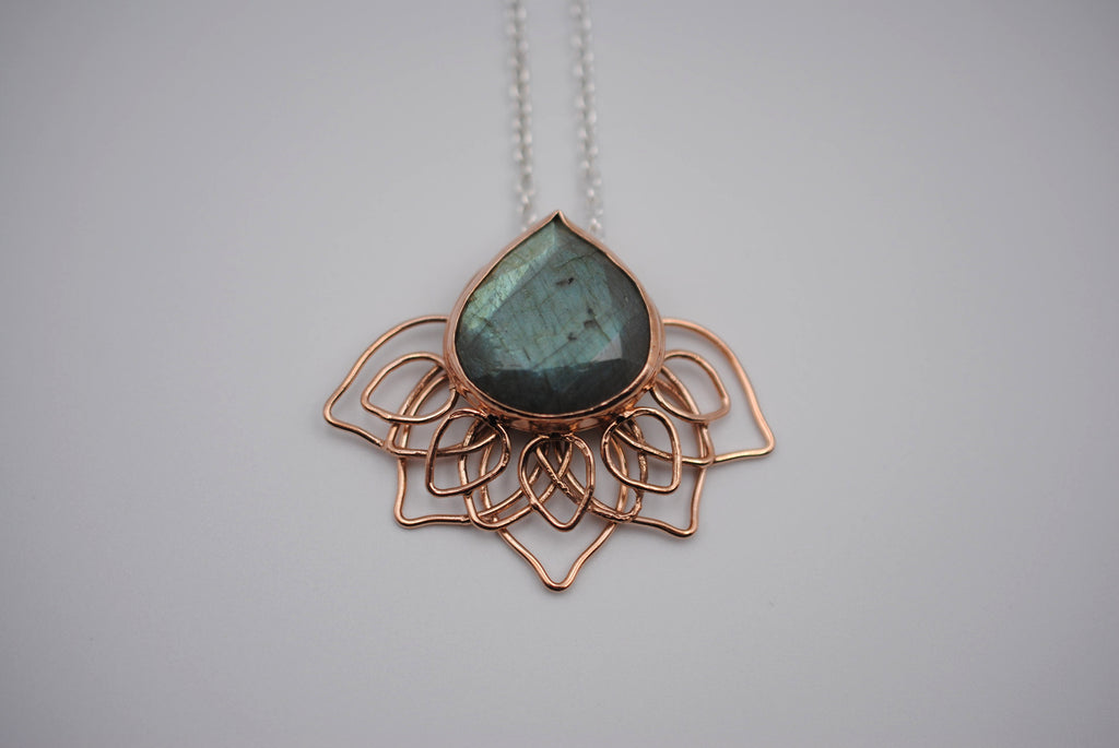 Teal Labradorite Lily Pendant Necklace