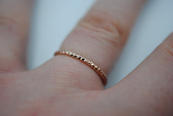 Thick Rose Gold Sparkle Stacker Ring