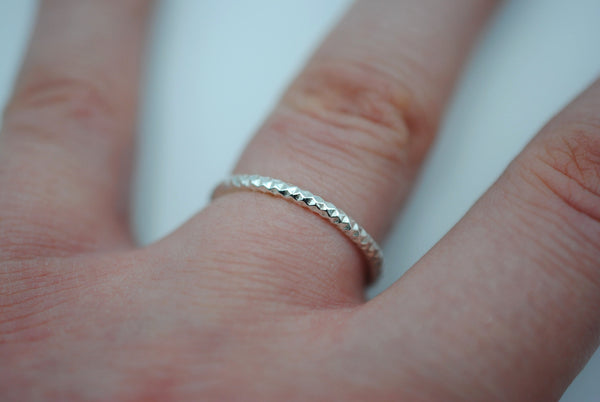 Thick Silver Sparkle Stacker Ring