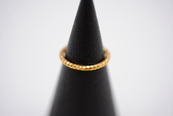 Thick Yellow Gold Sparkle Stacker Ring