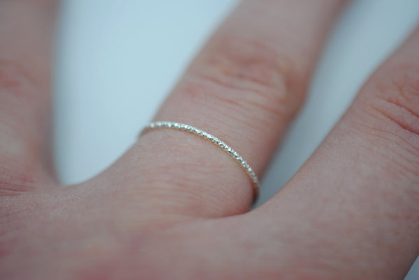Thin Silver Sparkle Stacker Ring