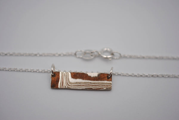 Three Tone Mokume Gane Bar Necklace
