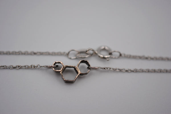 Trio Honeycomb Bar Necklace