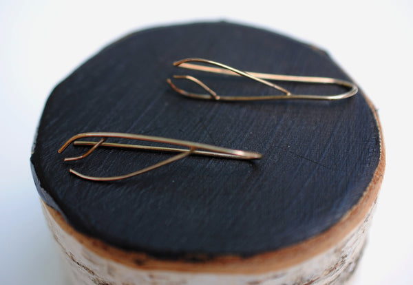 Inward Twig Rose Gold Roots Ear Climbers