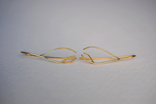 Inward Twig Yellow Gold Roots Ear Climbers