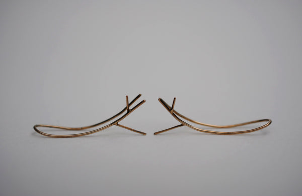 Outward Twig Yellow Gold Roots Ear Climbers