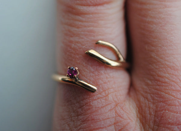 Twig Rose Gold Roots Ring with a Ruby Gemstone