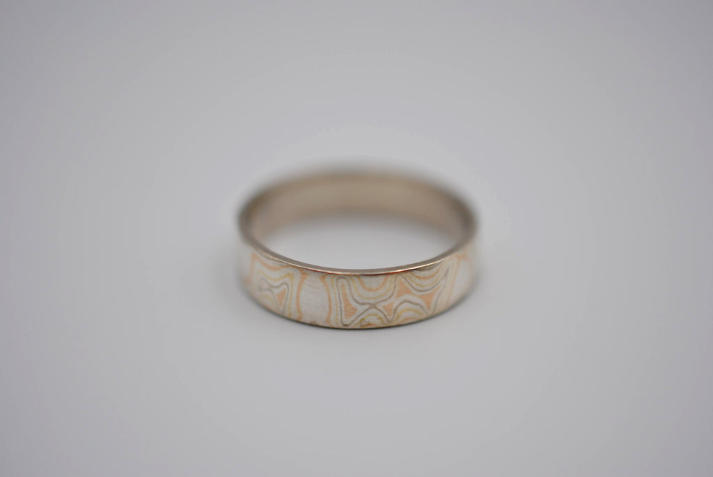 Four Tone Gold Mokume Gane Womens Band