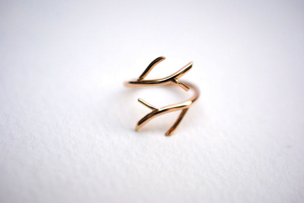 Double Outward Branch 14K Solid Yellow Gold Roots Ring