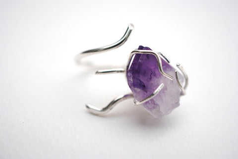 Vine Silver Roots Ring with Amethyst