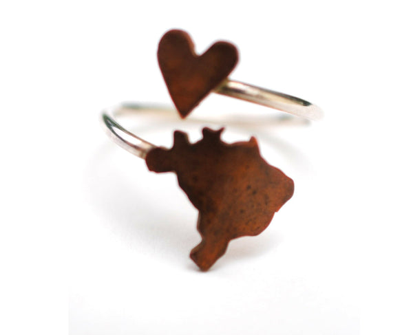 Brazil Heart Place Ring