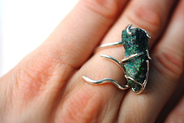 Vine Silver Roots Ring with Peacock Ore
