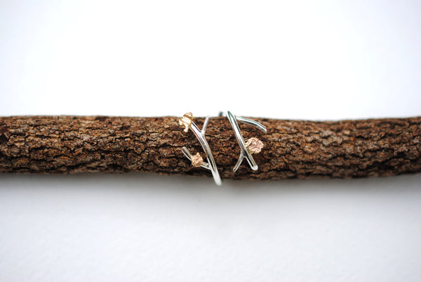 Double Outward Roots Ring with Raw Gold Accents