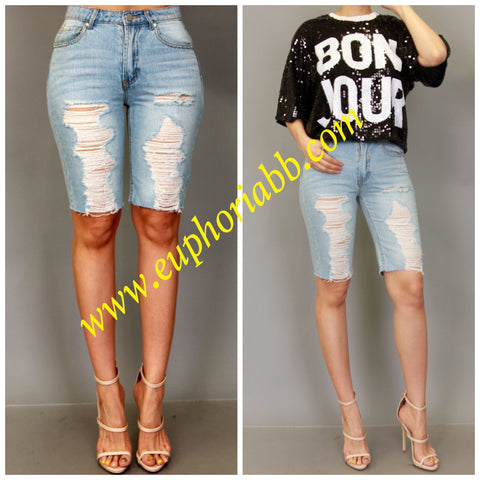 Distressed Denim Bermuda shorts!