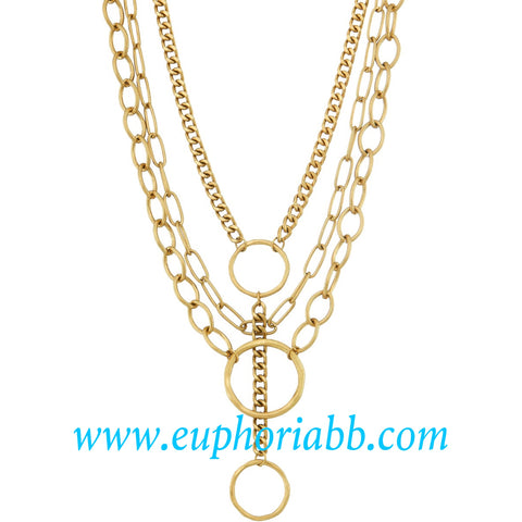 Gold three hoop necklace