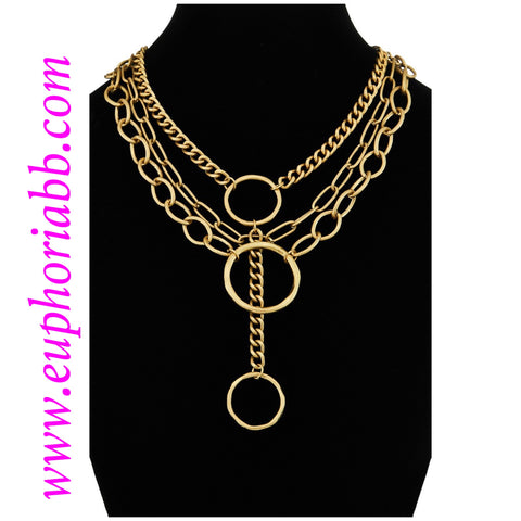 Multi layered three hoop gold necklace!