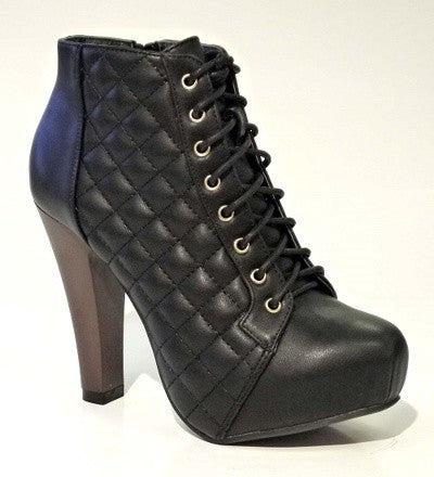 Black Quilted Bootie