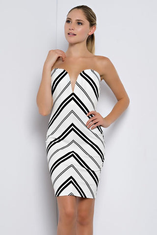 Strapless Black and White Fitted Dress