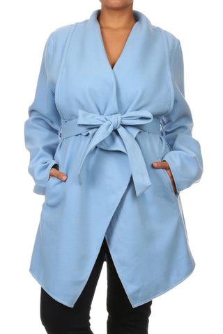 Baby Blue Wrap Peacoat (Plus Size)