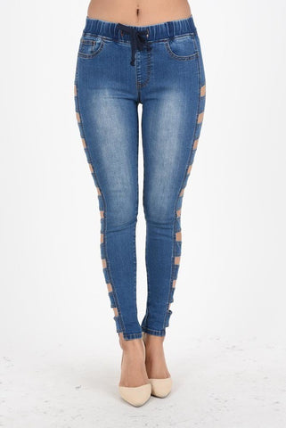 Side Cut Out Denim Jogger