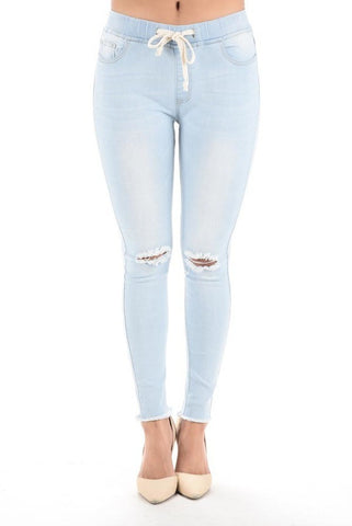 Distressed Knee Denim Jogger