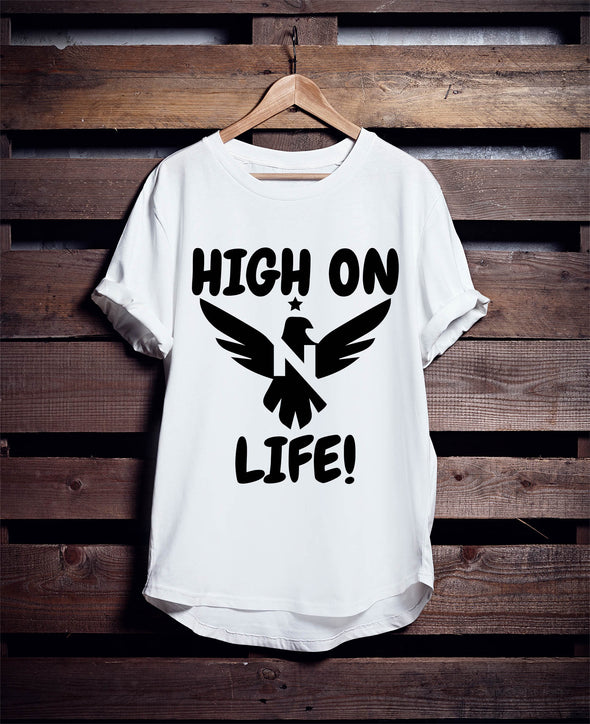 "T-SHIRT ROUND NECK SS ""HIGH ON"""