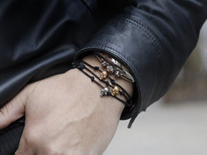 SNAKE BONES Skull Bracelet in Oxidized Silver with Diamond Eyes