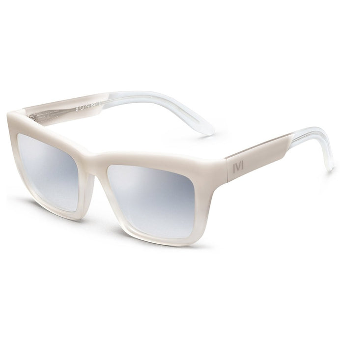 IVI VISION Bonnie Sunglasses in Polished Ivory with Fade / Light Blue Chrome Flash Lens