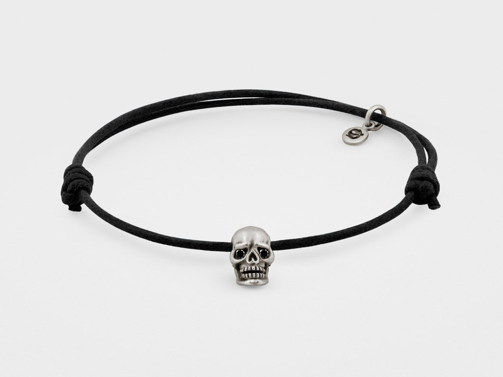 SNAKE BONES Skull Bracelet in Oxidized Silver with Black Diamond Eyes