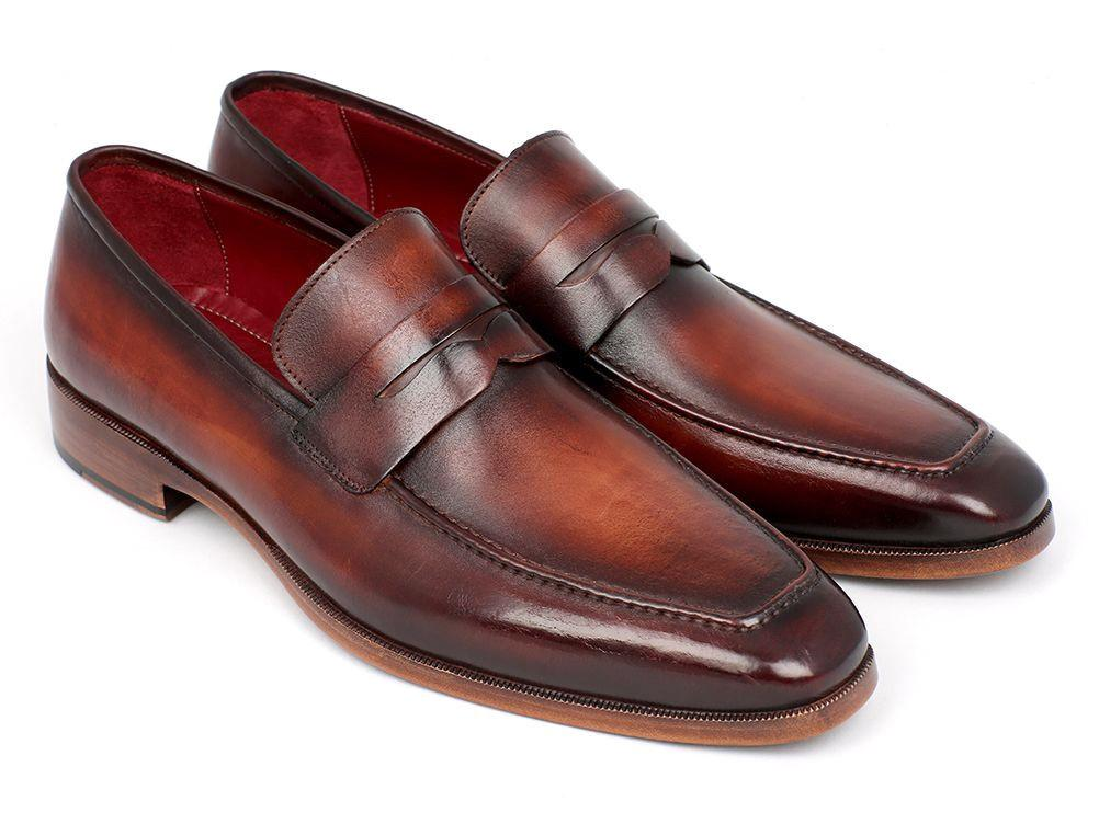 PAUL PARKMAN Penny Loafer in Bordeaux and Brown Calfskin