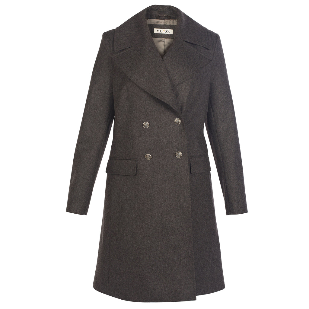 MUZA Gray Double-breasted Wool Coat