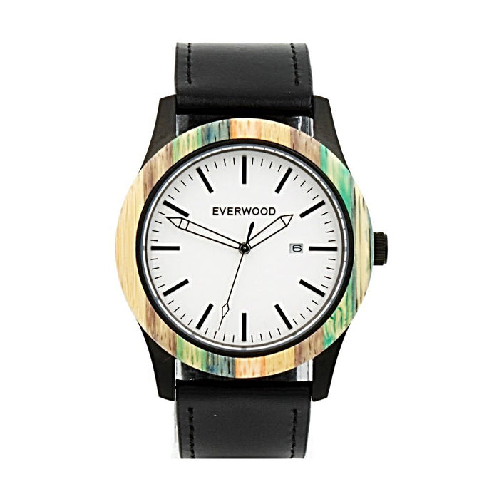 EVERWOOD Multi Bamboo and Black Leather Watch
