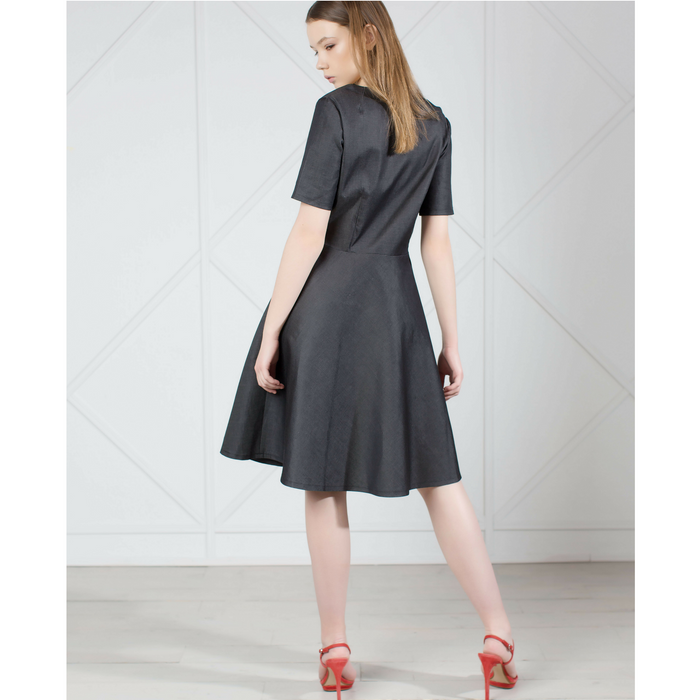 MUZA Denim Knee Length Dress in Gray