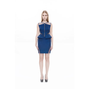 KRIS JANE Mesh cut-out peplum top
