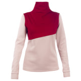 MUZA Two-tone Stretch-knit Turtleneck Top