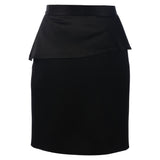 MUZA Wool and Satin Wrap Skirt in Black