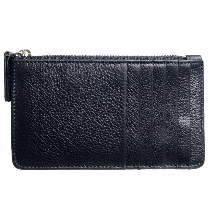 72 SMALLDIVE Grained Calf Leather Zip Wallet in Blue
