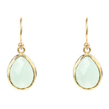 LATELITA LONDON Gold Aqua Chalcedony Petite Drop Earrings