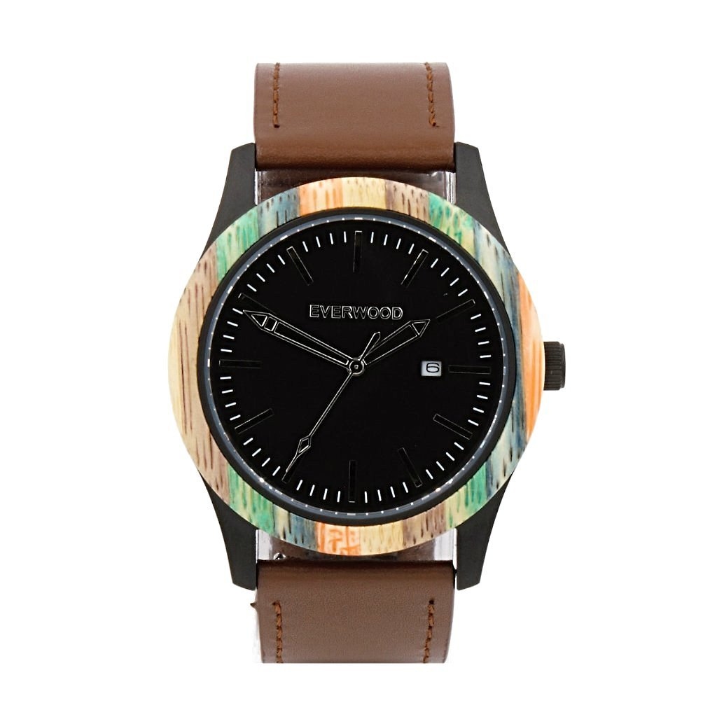 EVERWOOD Multi Bamboo and Brown Leather Watch