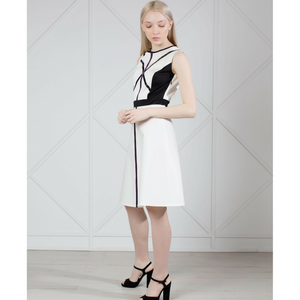 MUZA White Graphic Cotton Dress