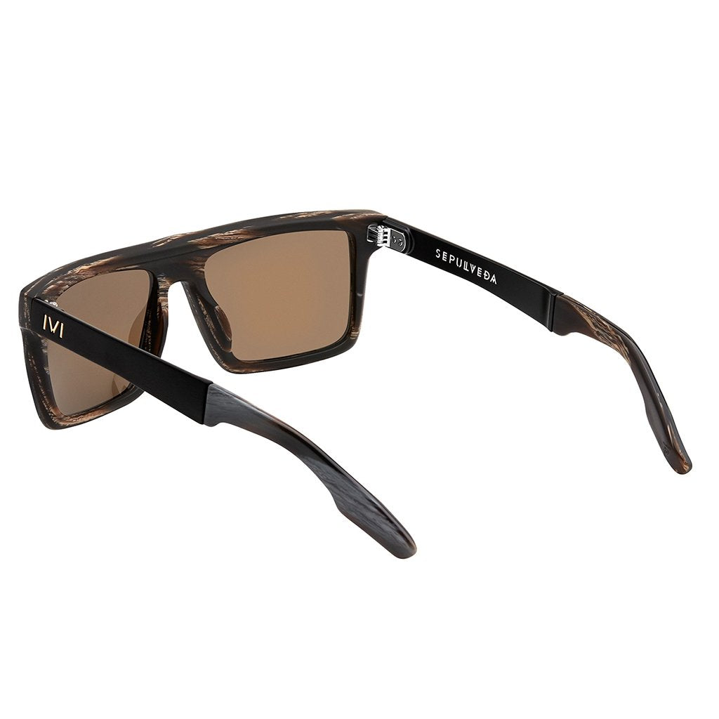 IVI VISION Sepulveda Sunglasses in Polished Double Horn and Brushed Black / Bronze Polarized Lens