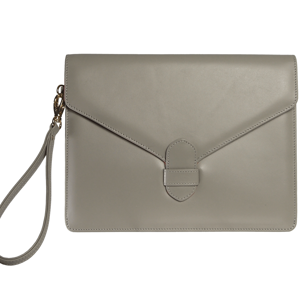 72 SMALLDIVE Buffed Calf Leather Envelope Wristlet in Pumice