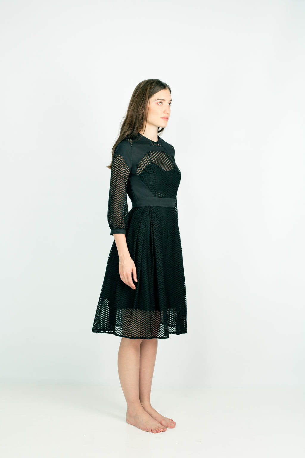 EON PARIS Pele Mesh Dress in Black