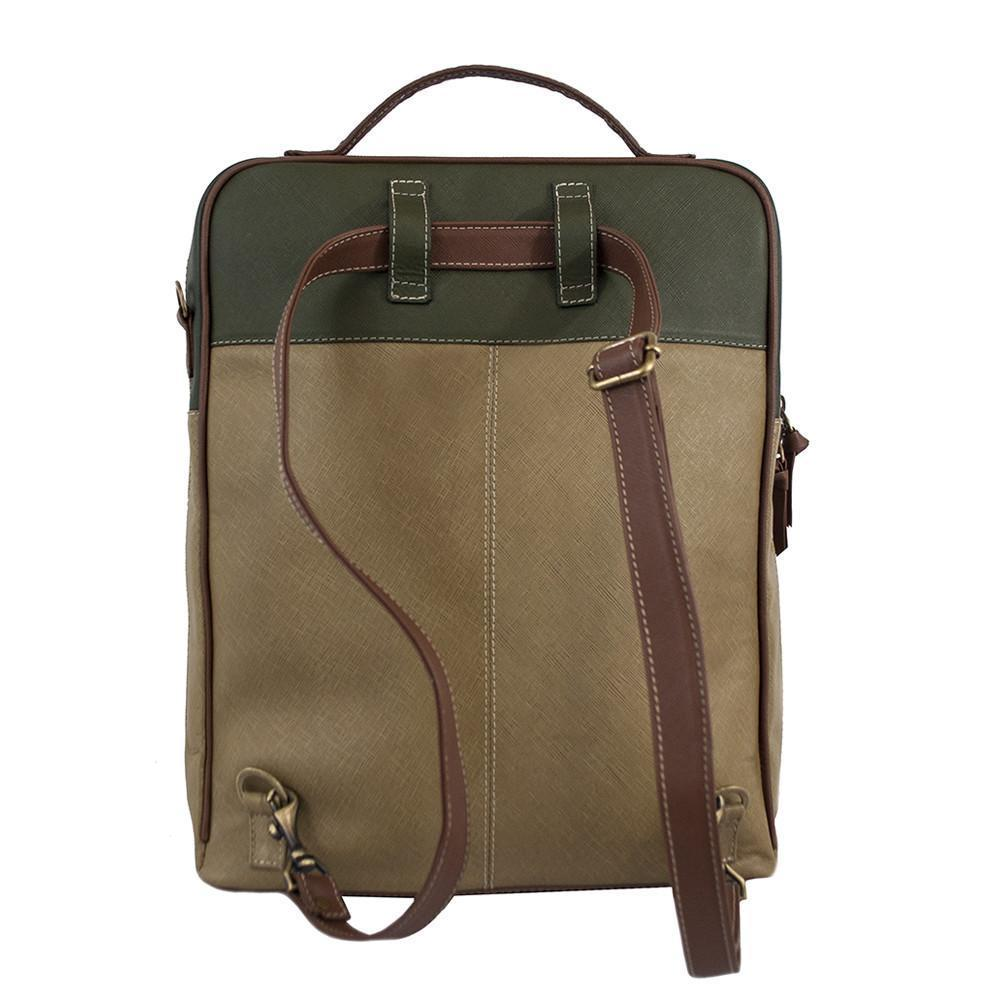 CLAUDIA Augusta Leather Backpack in Tan/Olive Green
