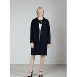 MUZA Cashmere & Wool Cocoon Coat in Navy